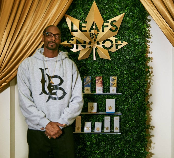 Snoop Dogg promoting Leafs by Snoop brand