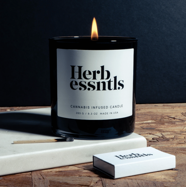 Cannabis candle burning