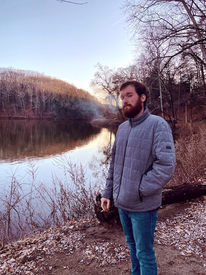 Dan LaMorte smoking cannabis in nature after weight loss