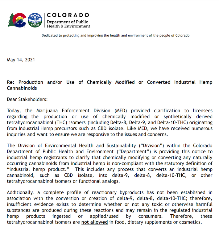 Legal notice from Colorado authorities about ban of delta-8 THC