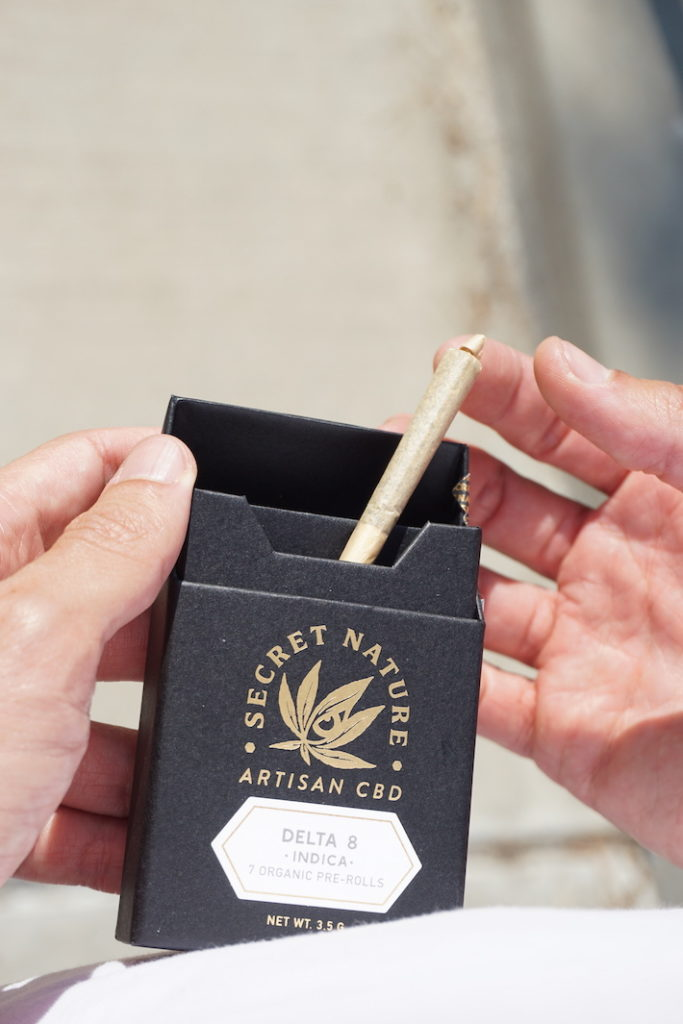 Delta-8 THC pre-roll product infused with CBD